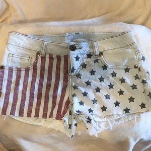 "Xhilaration -""Stars and Stripes"" Jean shorts"